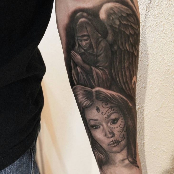 Guardian Angel Wrist Tattoo