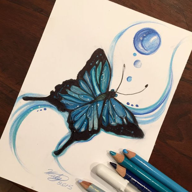 blue butterfly color pencil drawing