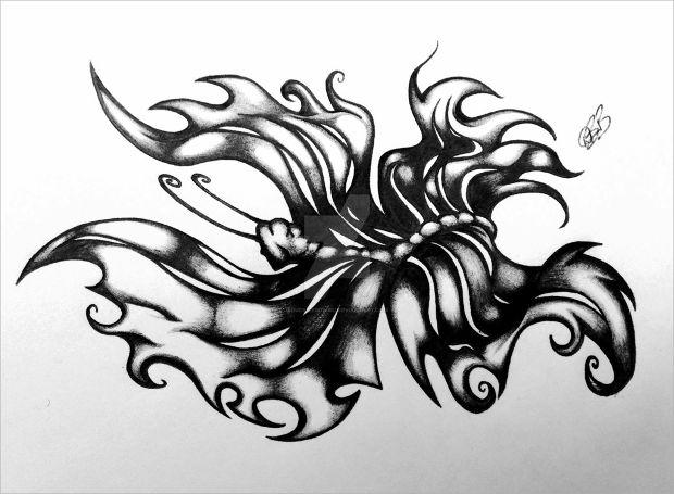 dark tribal butterfly drawing