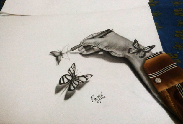 realistic 3d butterfly drawing