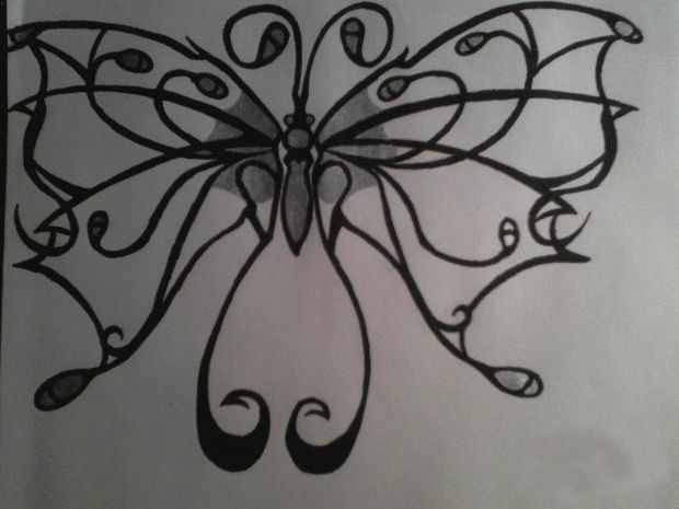 tribal butterfly black pencil drawing