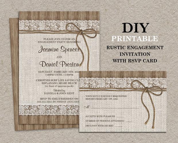 DIY Rustic Engagement Party Invitation