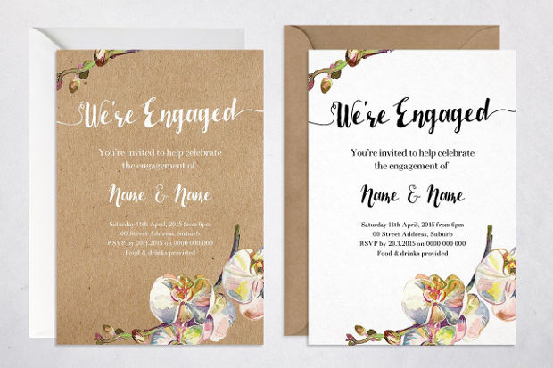 Rustic Floral Engagement Party Invitation