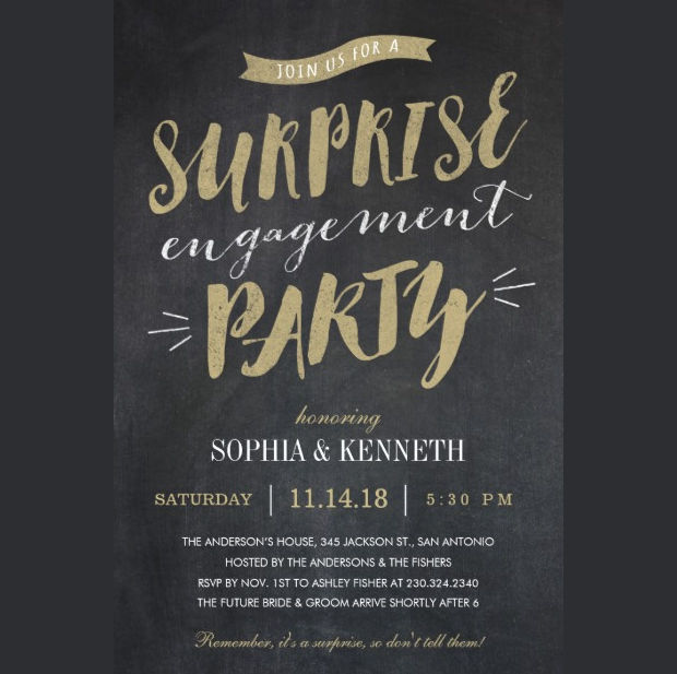 Chalkboard Surprise Engagement Party Invitation