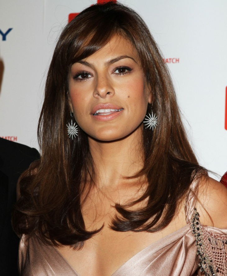 Eva Mendes Long Layered Hairstyle with Bangs