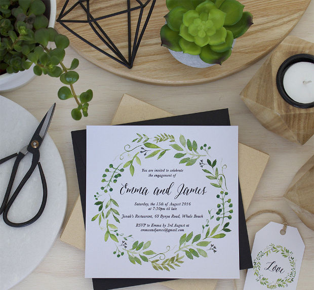 Handmade Spring Engagement Party Invitation