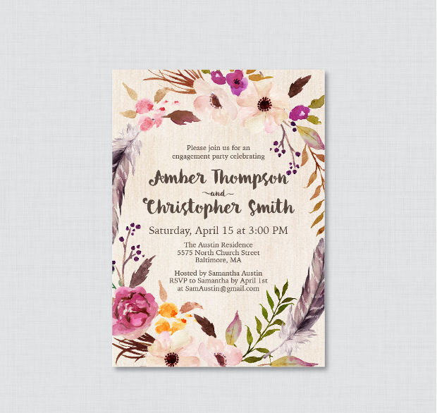 Boho Floral Engagement Party Invitation