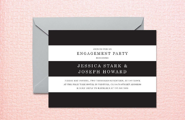 Elegant Striped Engagment Party Invitation