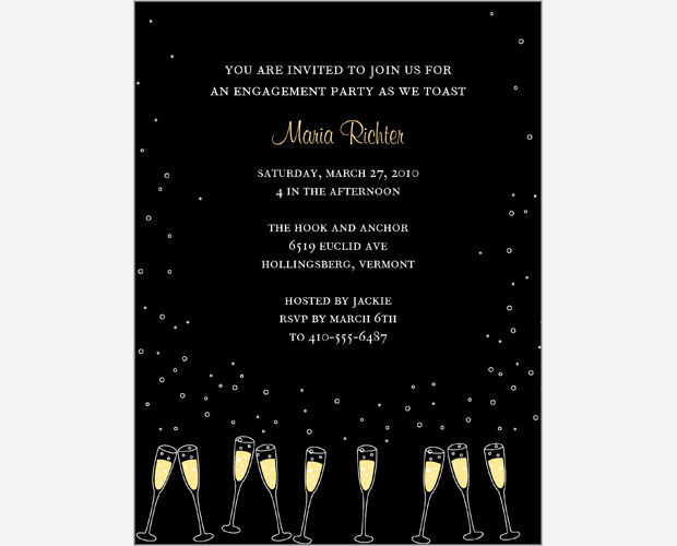 Black Elegant Engagement Party Invitation