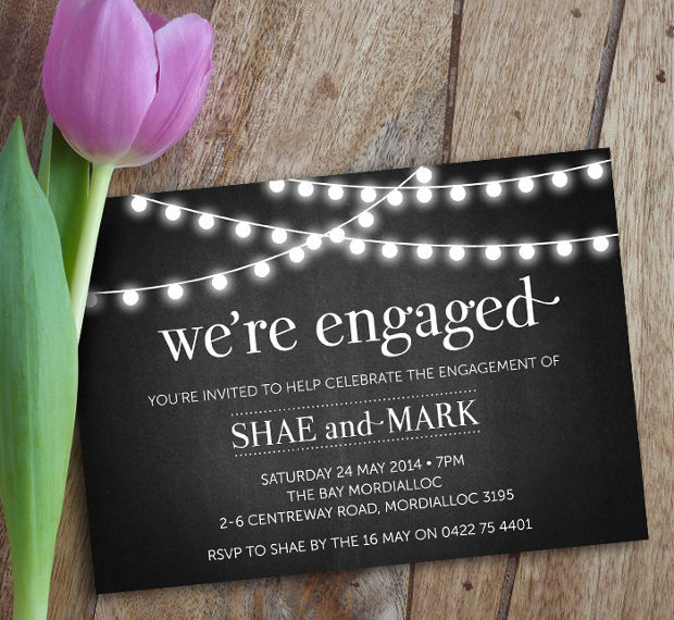 Printable Lights Engagement Party Invitation