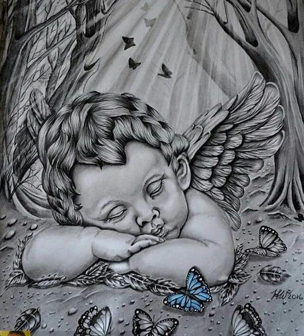 baby angel sleepy drawing