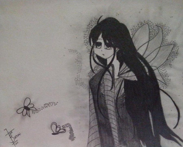 animae girl angel drawing