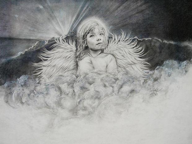 angel praying pencil drawing