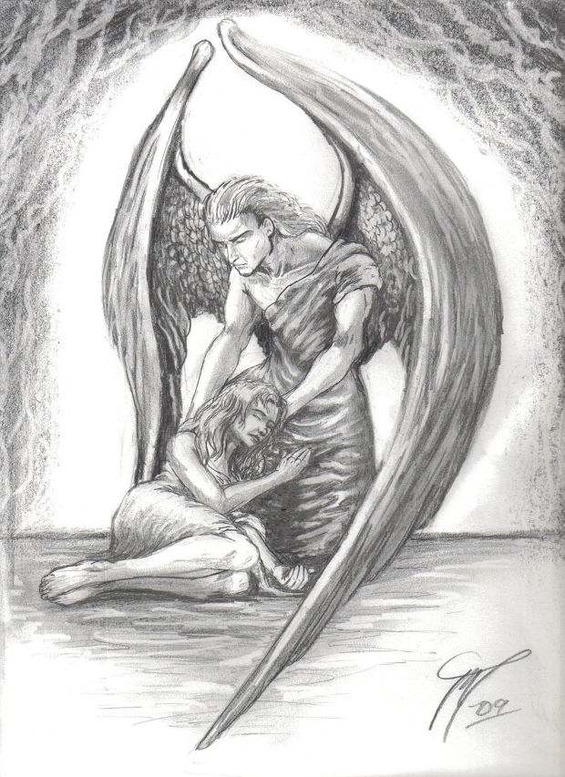 Guardian angel pencil drawing