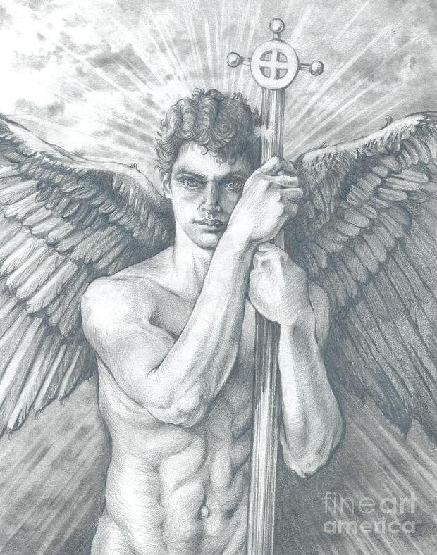 guardian angel watching drawing