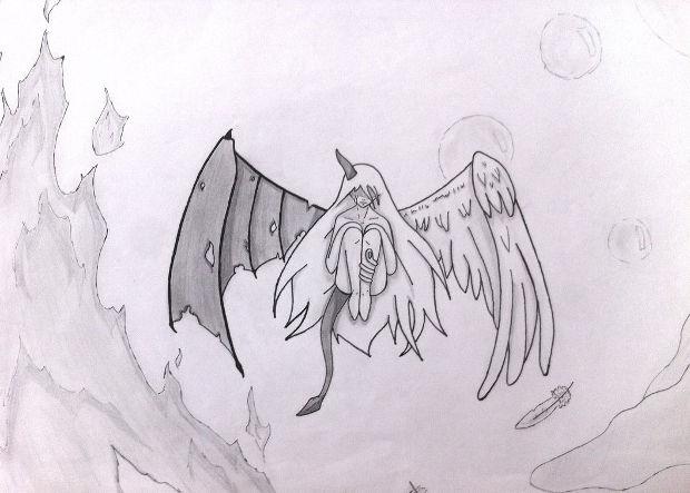 half evil angel drawing