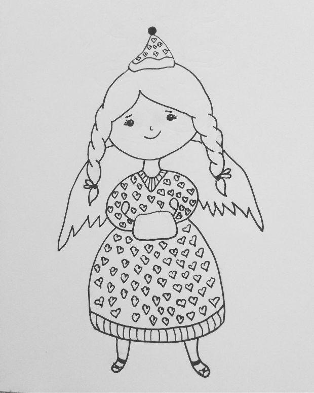 cartoon angel christmas drawing