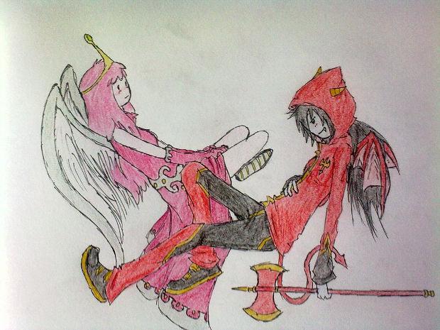 cartoon pink angel drawing