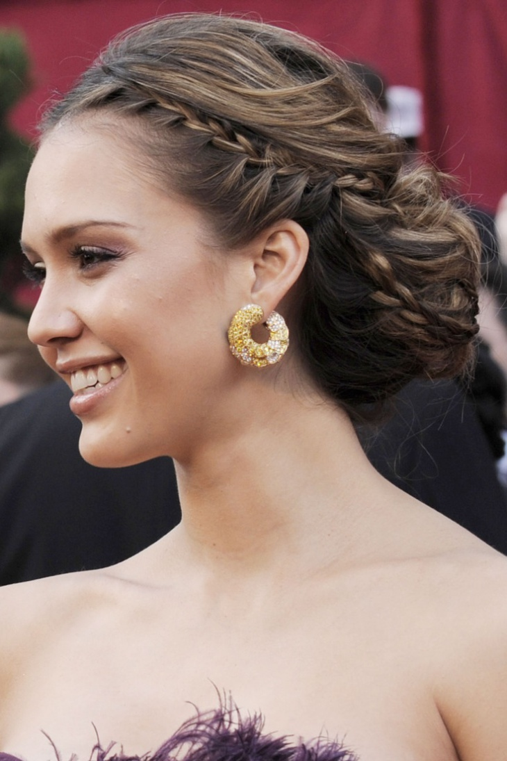 Jessica Alba Updo Braided Hairstyle for Long Hair