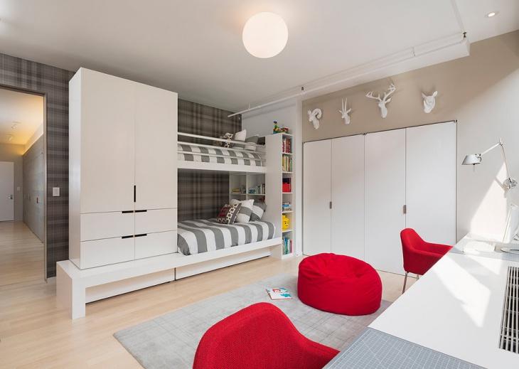 Small Bunk Bed Wall Wardrobe Idea