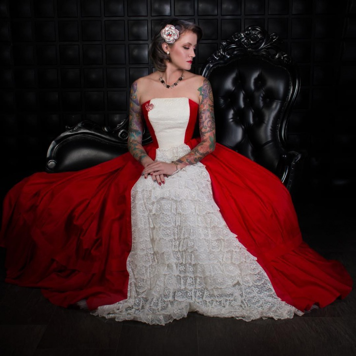 designer red and white wedding dress