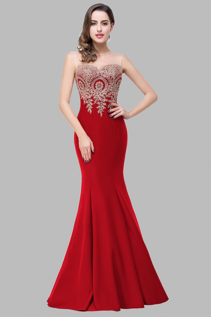 red mermaid wedding dress for women