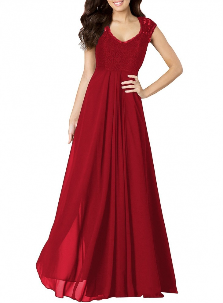 red formal evening dress