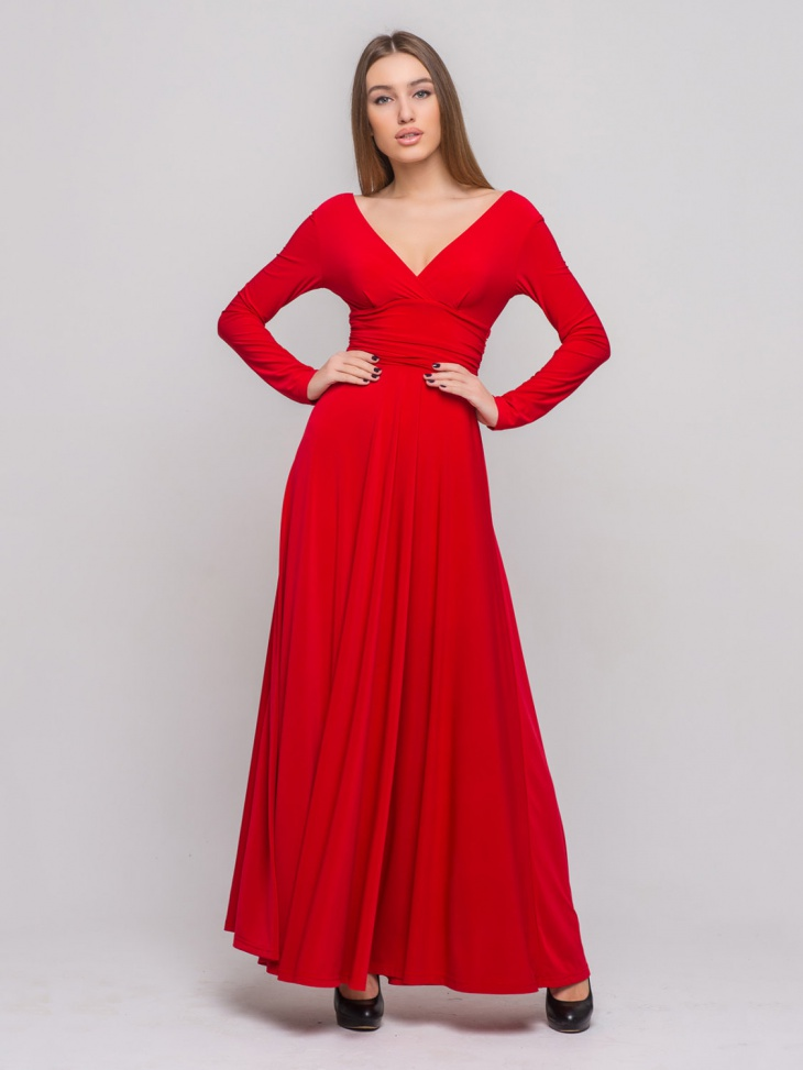 long sleeve red formal dress