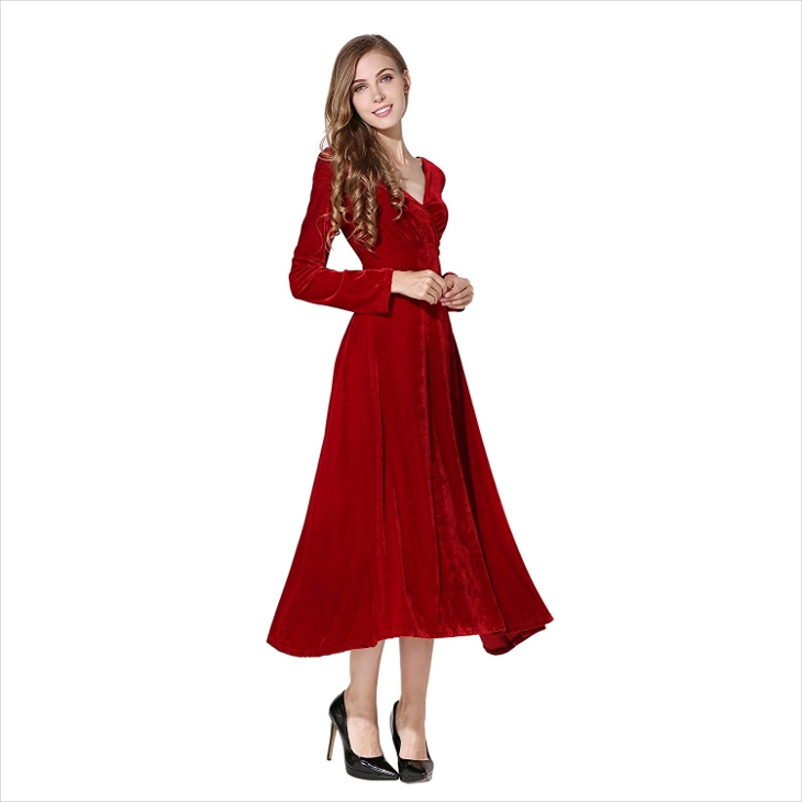 red velvet long sleeve dress - Dress Design Ideas