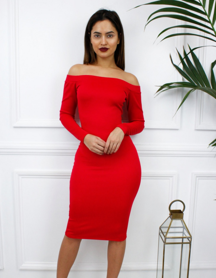 red bodycon long sleeve dress for women