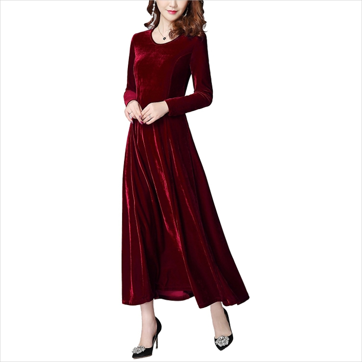long red velvet dress