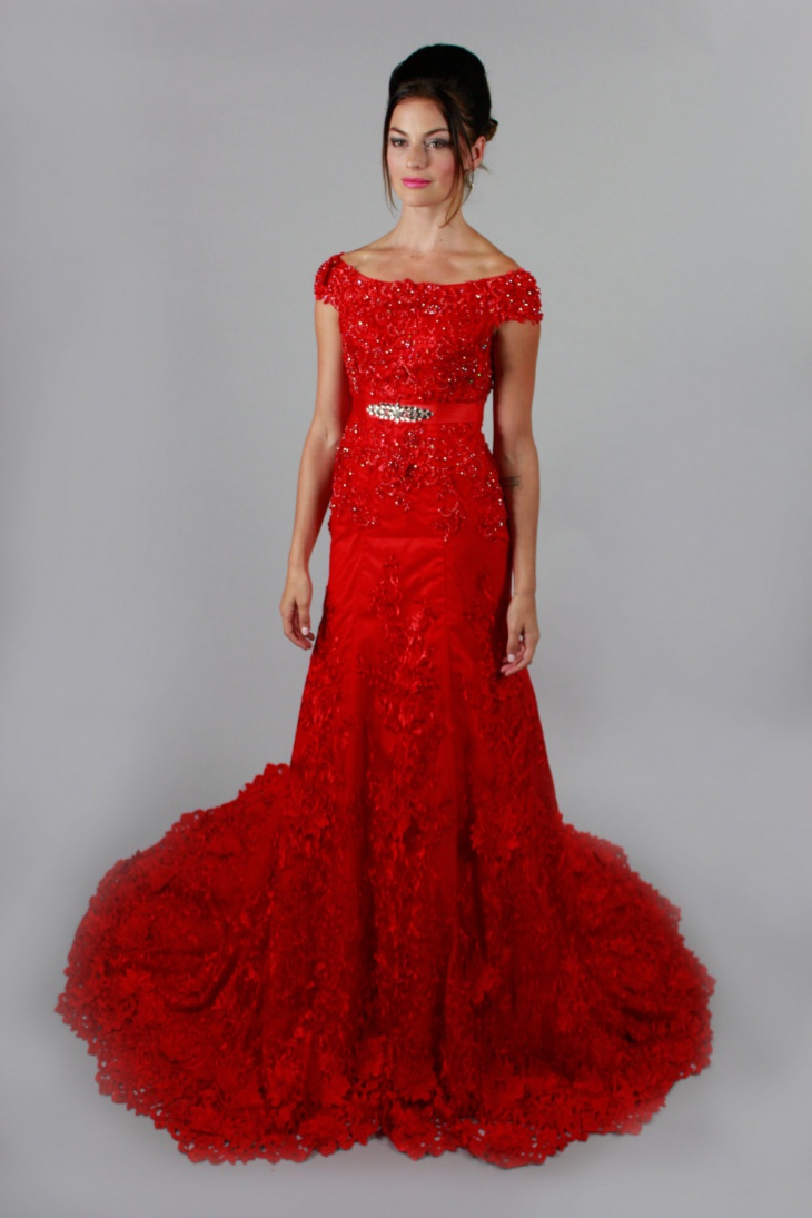 red lace mermaid dress