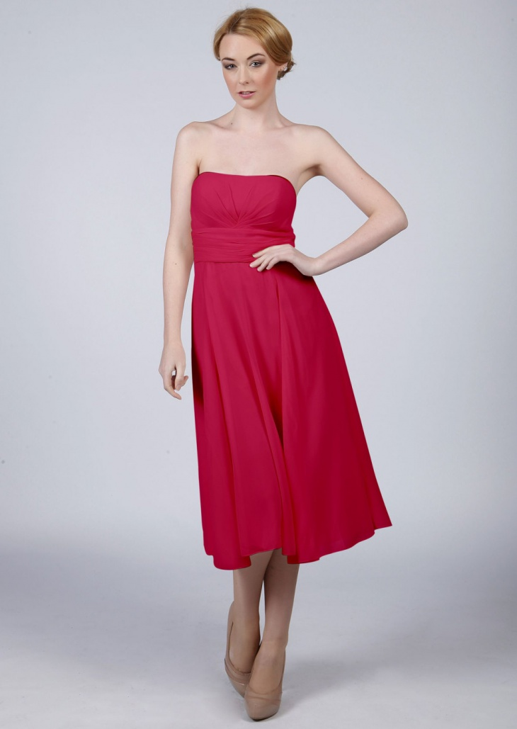 red prom strapless dress