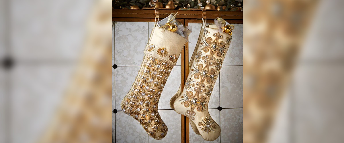 Champagne Pearl Fringe Christmas Stocking