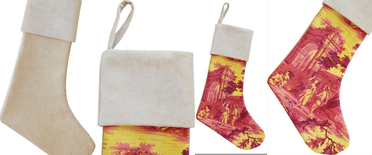 french toile velvet christmas stocking