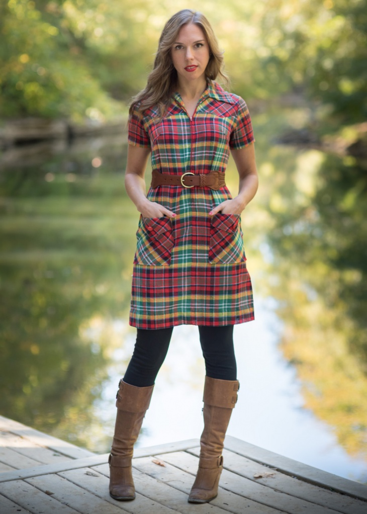 red and green plaid dress