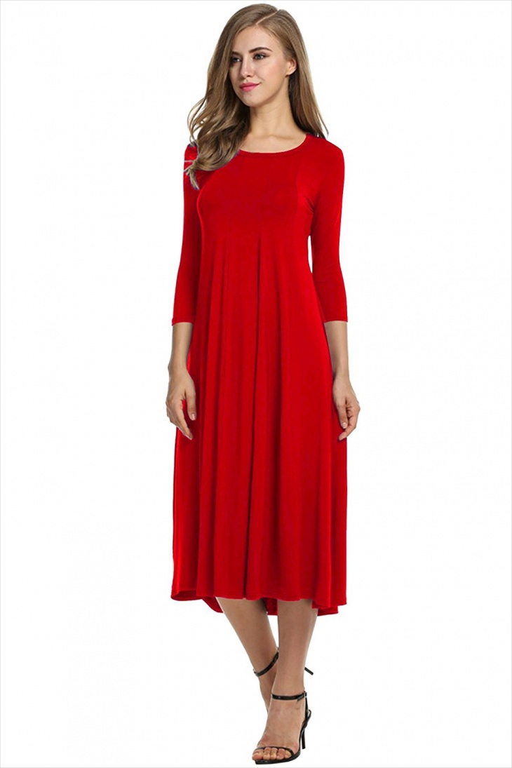 red midi dress with sleeves