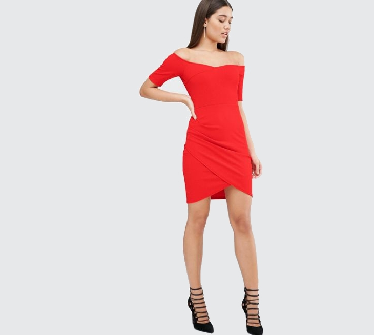 red faux wrap dress1