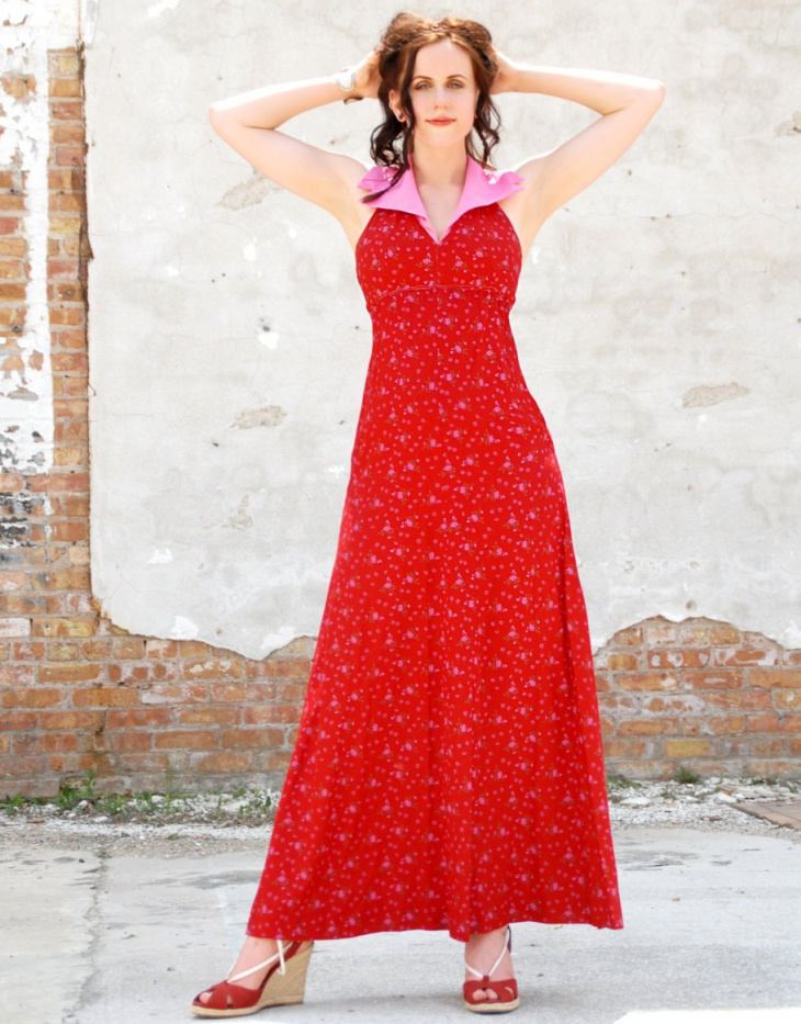 vintage red halter dress