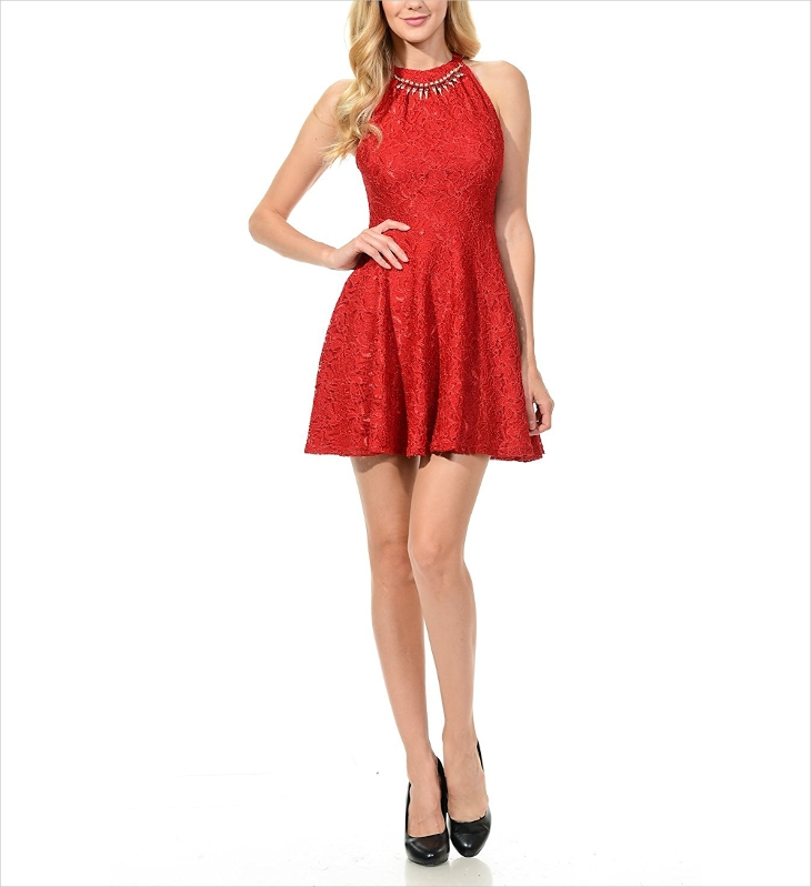 red lace halter dress design