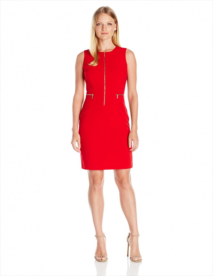 red sheath dress for work