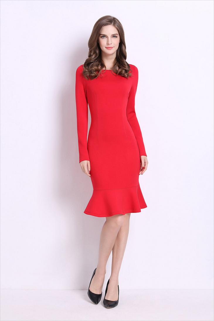 long sleeve red sheath dress