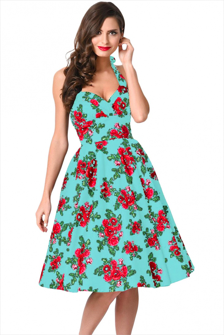 red and blue floral dress