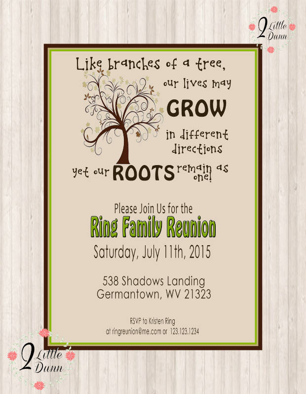 Swirl Tree Printable Reunion Invitation
