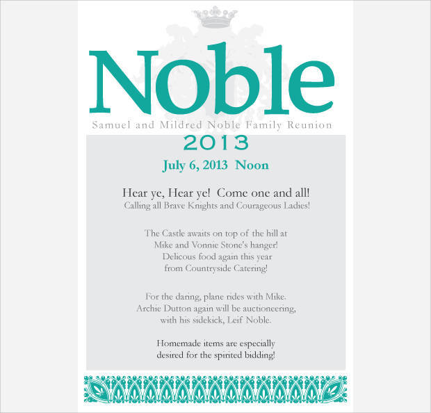 Sample Noble Family Reunion Invitation