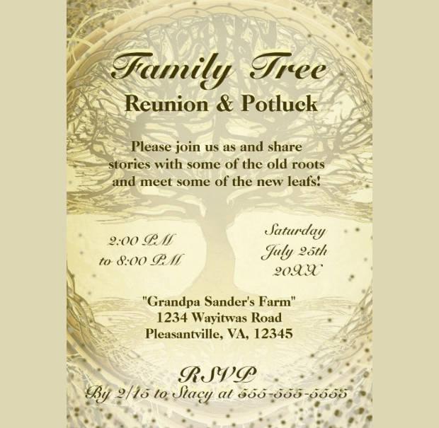 Vintage Family Reunion Tree Invitation