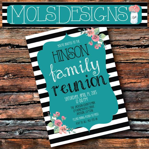 Vintage Glitter Family Reunion Invitation