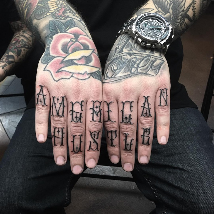 mens hand knuckle tattoo