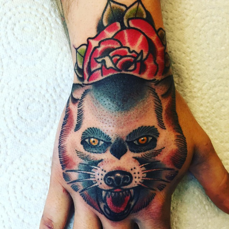 Mens Wolf Hand Tattoo