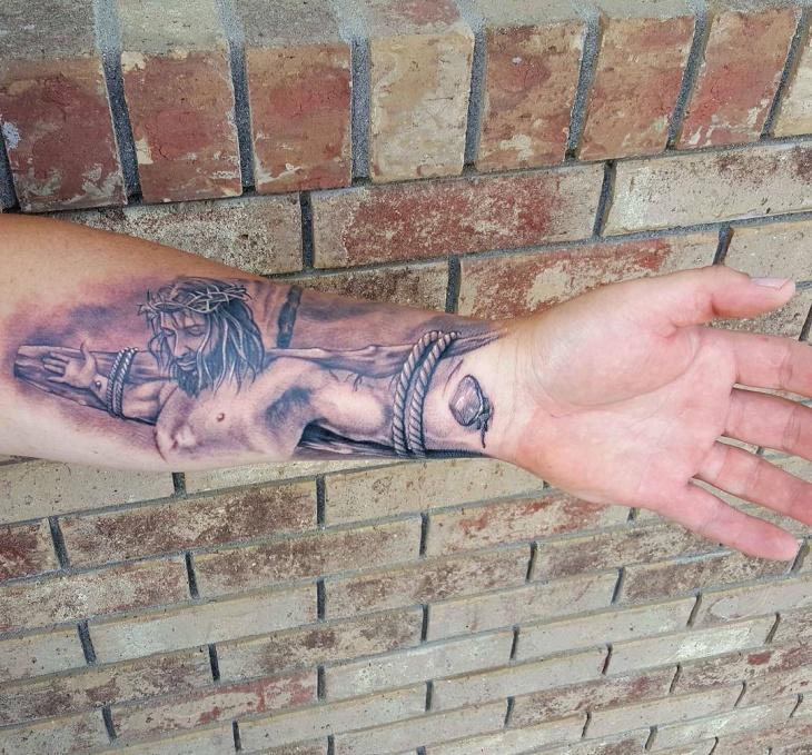 3D Jesus Hand Tattoo